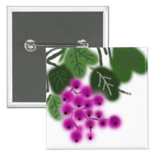 lila Trauben und Grün-Blätter Quadratischer Button 5,1 Cm
