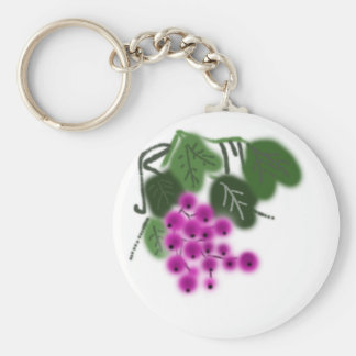 lila Trauben und Grün-Blätter Standard Runder Schlüsselanhänger