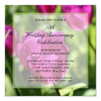 Lila Tulpe-50. Hochzeits-Jahrestags-Einladungen Quadratische 13,3 Cm Einladungskarte