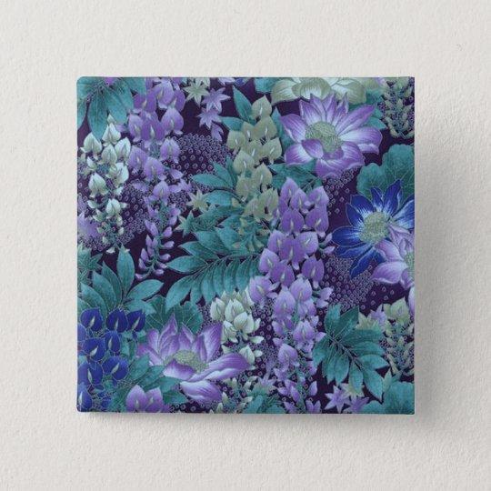 Lila u. aquamarine Dschungel-Blumen Quadratischer Button 5,1 Cm