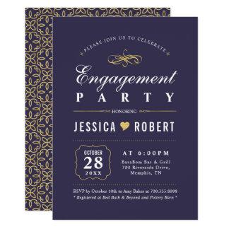 Lila u. elegantes Verlobungs-Party des Gold  Karte