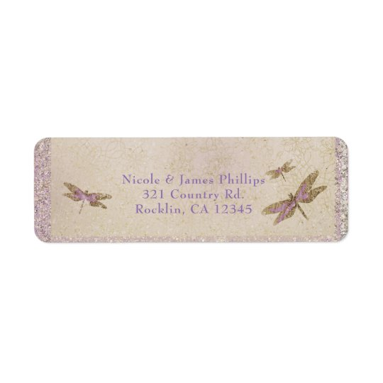 Lila u. Goldlibellen-Libellen-Einladung Rücksendeetikett