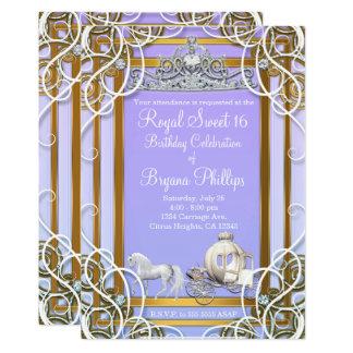 Lila u. Goldprinzessin Crown Carriage Sweet 16 Karte