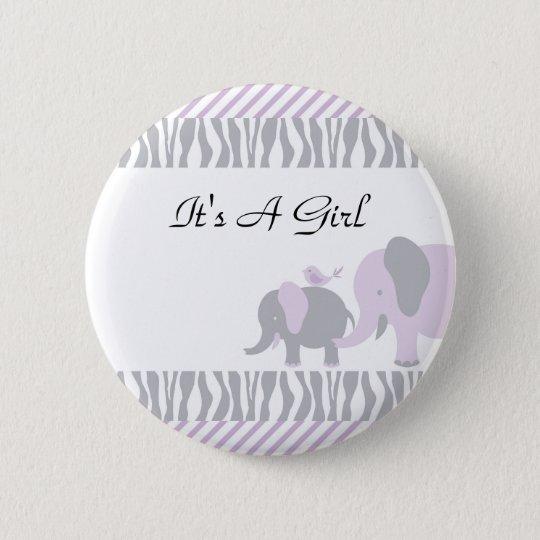 Lila u. grauer Elefant-Knopf Runder Button 5,7 Cm