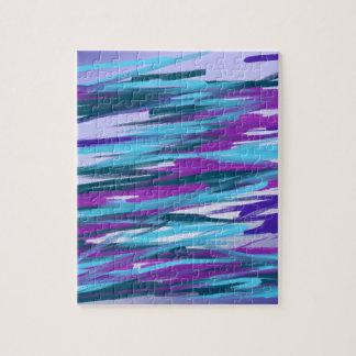 Lila u. grüne abstrakte Kunst Jigsaw Puzzle