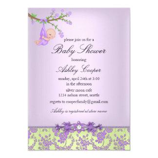 Lila u. grüne Rosen-Garten-Baby-Duschen-Einladung Karte