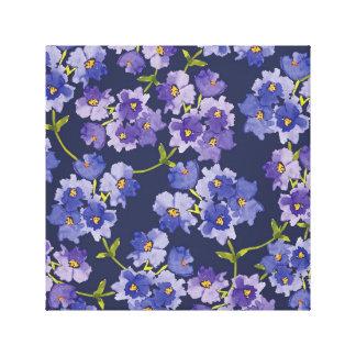 Lila u. Marine-Wasserfarbe-Blumenblüten-Leinwand Leinwanddruck