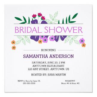 Lila u. orange Hand gezeichnete Blumen, Brautparty Quadratische 13,3 Cm Einladungskarte