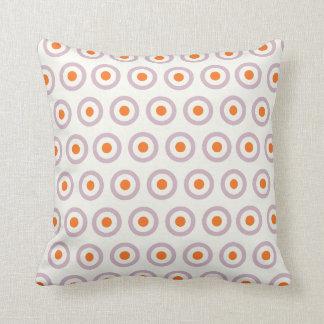 Lila u. orange Kreis-Punkt-Retro Entwurf Kissen