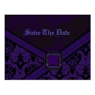 Lila u. schwarze Goth Spitze-Hochzeit Postkarte