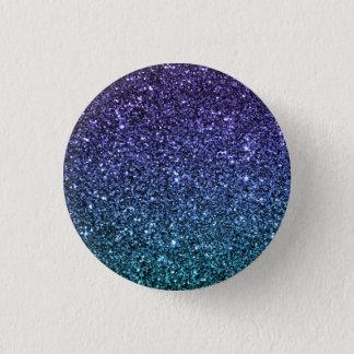 Lila und Aqua Ombre Imitat-Glitzer Runder Button 3,2 Cm