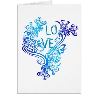 Lila und Blau bewegt Liebe wellenartig Karte