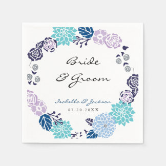 Lila und blauer GartenWreath Wedding | Papierservietten