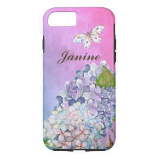 Lila und blauer Hydrangea-Blüten-Sommer-Traum iPhone 8/7 Hülle