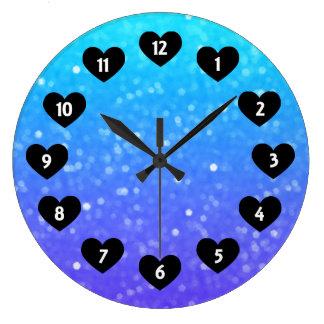Lila und blauer Schimmer mit Herz-Wand-Uhr Große Wanduhr