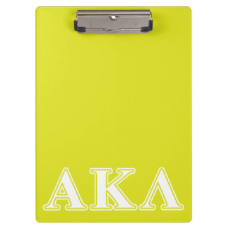 Lila und gelbe Buchstaben Alphakappa-Lambdas Klemmbrett