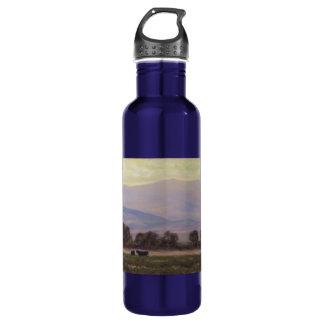 Lila und gelbe Gebirgswasser-Flasche Edelstahlflasche