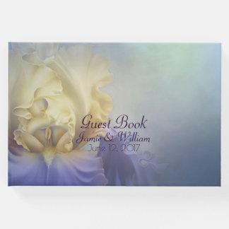 Lila und gelbe Iris-Hochzeits-Gast-Buch Gäste Buch