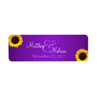 Lila und gelbe Sonnenblume-Briefmarke