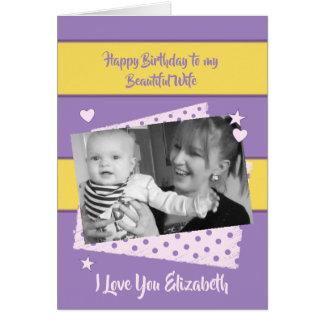 Lila und gelbes Geburtstags-Foto der schönen Karte