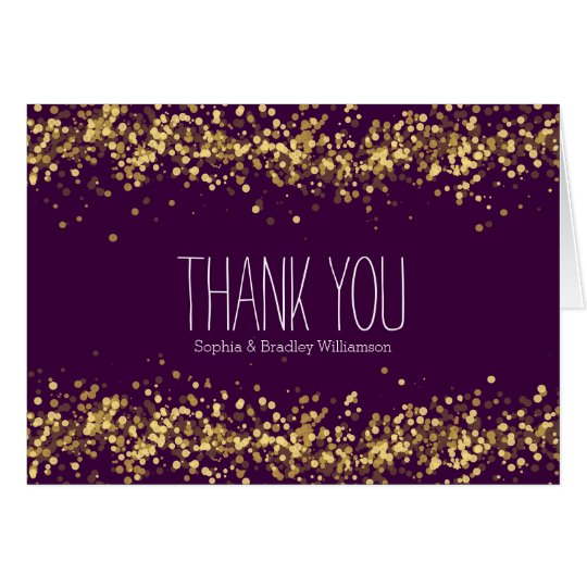 Lila und GoldConfetti Bokeh danken Ihnen Karte