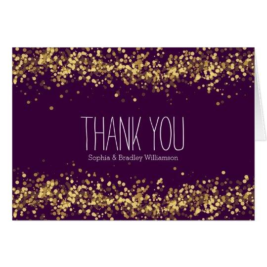 Lila und GoldConfetti Bokeh danken Ihnen Mitteilungskarte