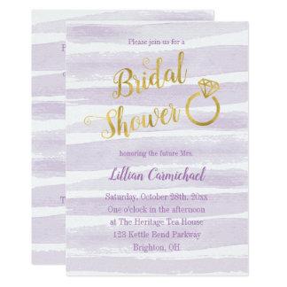 Lila und Goldwatercolor-Streifen-Brautparty Karte