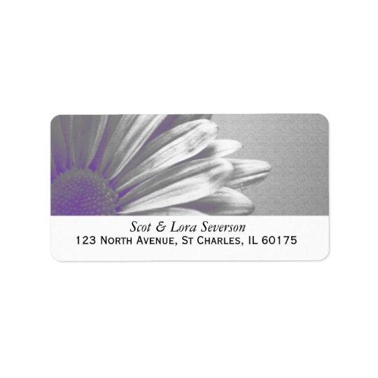 Lila und graue Blumenhöhepunkt-Rücksendeadresse Adressaufkleber