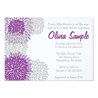 Lila und graue Dahlie-Baby-Duschen-Einladung 12,7 X 17,8 Cm Einladungskarte