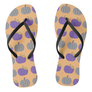 Lila und graue Kürbis-Herbst-Muster-Purzelbäume Flip Flops