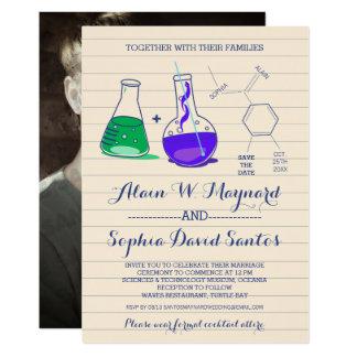 Lila und grüne Chemie-Foto-Hochzeit lädt ein 12,7 X 17,8 Cm Einladungskarte