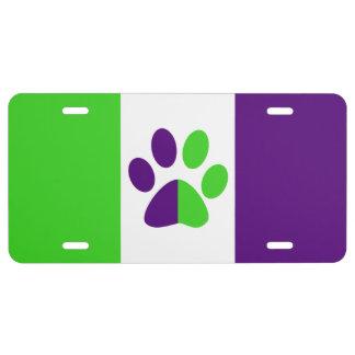 [Lila und grüner] Streifen Farbe-Block US Nummernschild