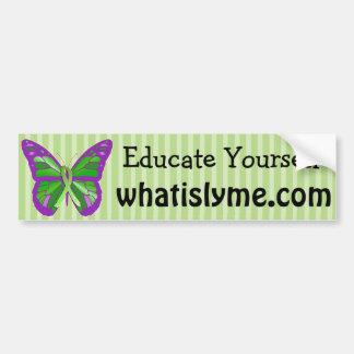Lila und Limone grüne Schmetterling Lyme Krankheit Autoaufkleber