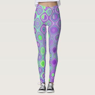 Lila und Limoner grüner geometrischer Entwurf Leggings