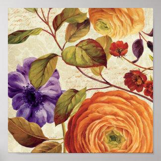 Lila und orange Blumen Poster