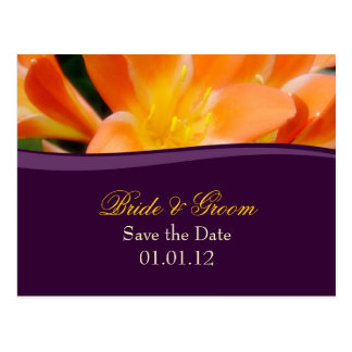 Lila und Orangen-Save the Date Postkarte
