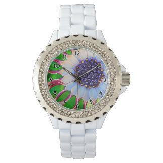 Lila und rosa afrikanisches Gänseblümchen-feine Uhr