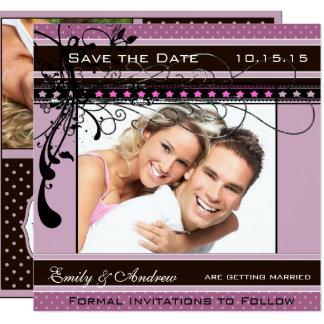 Lila und rosa Hochzeits-Foto Save the Date Quadratische 13,3 Cm Einladungskarte