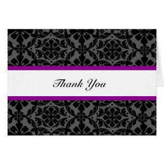Lila und schwarze Damast-Hochzeit danken Ihnen Karte