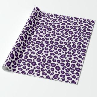 Lila und schwarzer Leopard-Druck Geschenkpapier