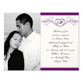 Lila und silberne Herz-Rolle-Monogramm-Verlobung 10,8 X 14 Cm Einladungskarte