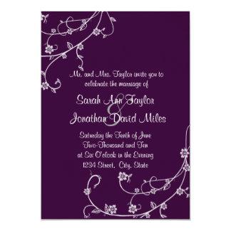 Lila und weiße Blumenstrudel-Hochzeits-Einladung