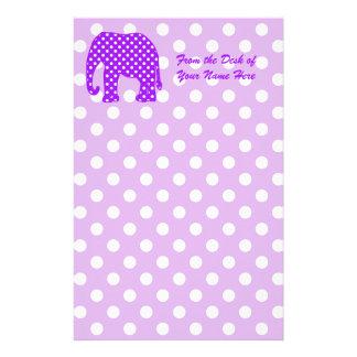 Lila und weißer Polka-Punkt-Elefant Briefpapier