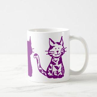Lila und weißes Katzen-Muster Kaffeetasse