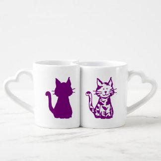 Lila und weißes Katzen-Muster Liebestassen