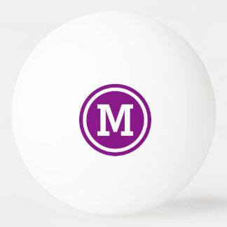 Lila und weißes Kreis-Monogramm Tischtennis Ball