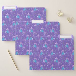 Lila Unicorns-rosa Sterne Papiermappe