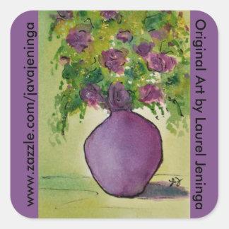 Lila Vase lila Blumen-VorlageWatercolor Quadratischer Aufkleber