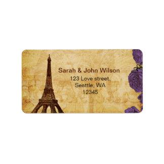 lila Vintage Eiffel-Turm Paris-Adressen-Etiketten Adressaufkleber