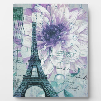 lila Vintager mit Blumenturm Paris Eiffel Fotoplatte